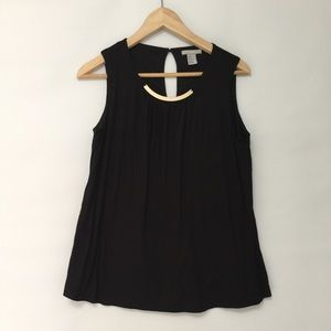 H&M black sleeveless top with gold detail